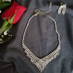 Jewelry - Crystal Rhinestone Necklace-Earring JewelryWedding
